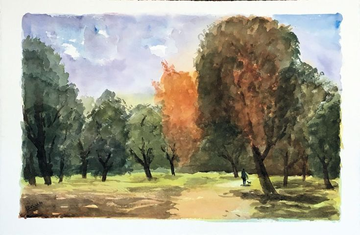 Buy A Walk in the Woods, in Autumn - A large colourful watercolour painting! Original., Watercolour by Julian Lovegrove Art on Artfinder. Discover thousands of other original paintings, prints, sculptures and photography from independent artists.