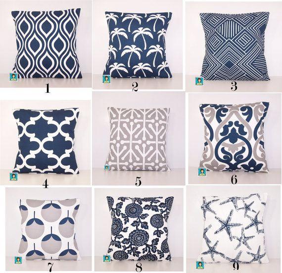mix and match outdoor pillow navy and grey pillow lumbar various sizes