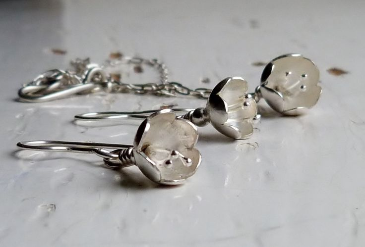 Stirling Silver Flower Necklace and Earring Jewellery set, fully Hallmarked Jewellery Gift Set by TSJewelleryDesigns on Etsy