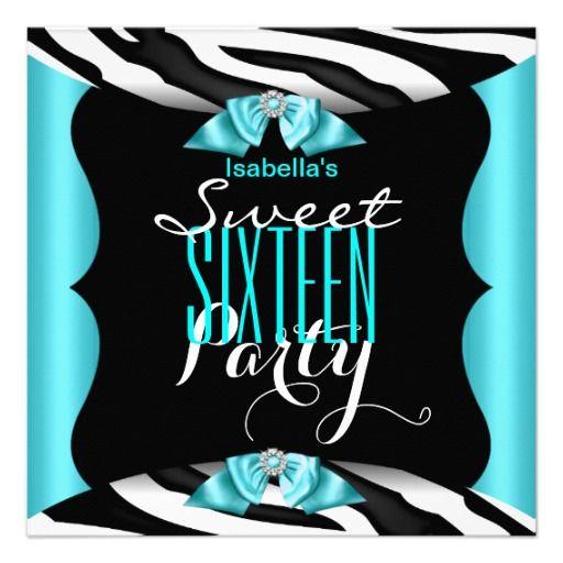 Sweet 16 Cute Teal Zebra Black Birthday Party Custom Announcement