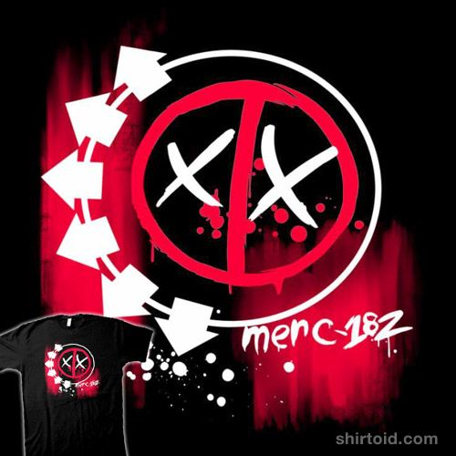 Merc-182 | Shirtoid #blink182 #comic #comics #deadpool #film #kindacreative #louiswulwick #marvelcomics #movie #music