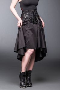 Queen of Darkness - Gothic Maxi Rock mit Karabinerhaken & Raff-Funktion