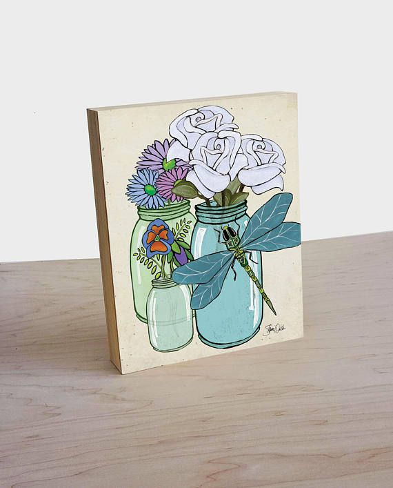 Artist Shanni Welsh's Dragonfly, Flowers and Kerr jars art panel print. Dragonfly print. Botanical print. Kerr jar home décor. Dragonfly and flowers poster.