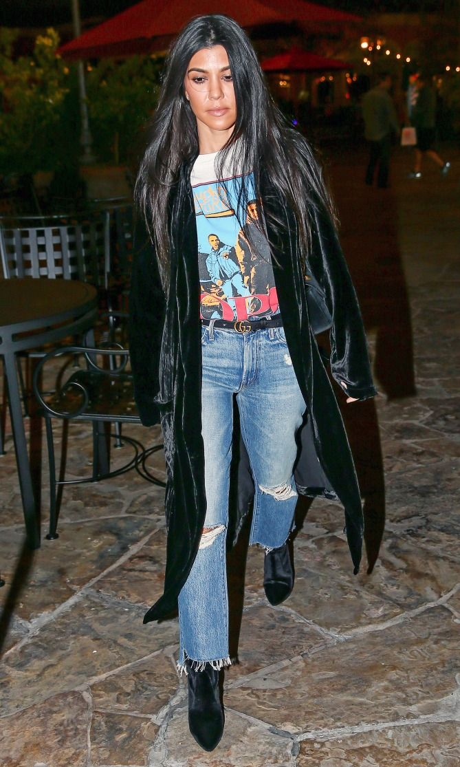 Kourtney Kardashian in ripped Mother jeans - click through to shop more celebrity denim outfit ideas