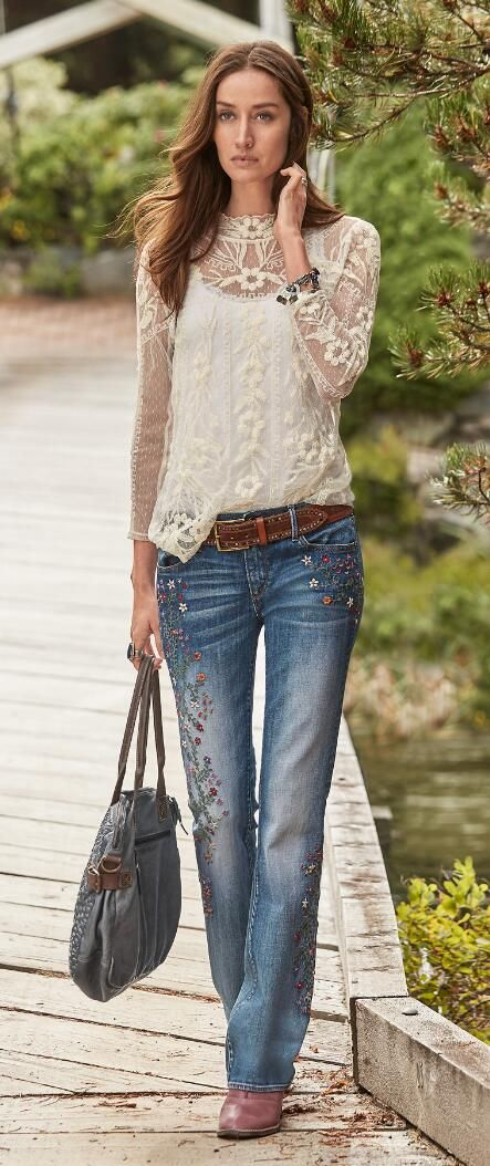 Our graceful long-sleeve lace tee shirt is delicately elegant and truly timeless.