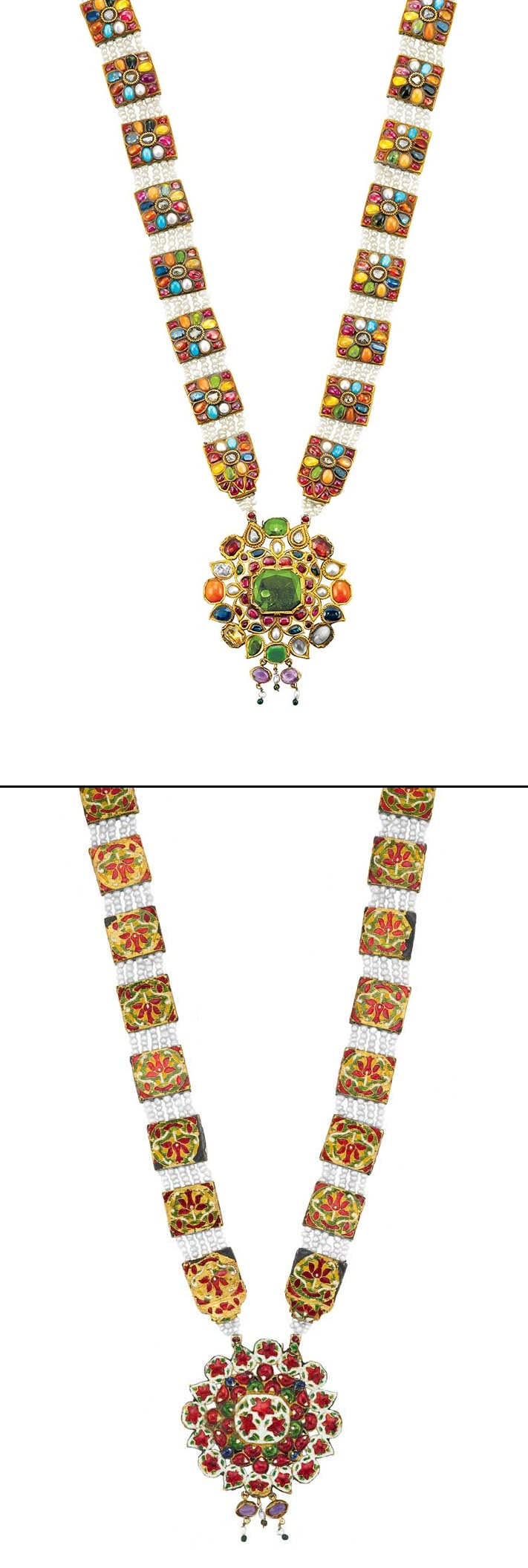 Intricate kt gold necklace set with multicolored precious gems and
