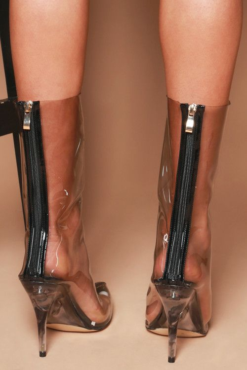 Kourtney Ankle Boots in Smoke Perspex Clear Perspex
