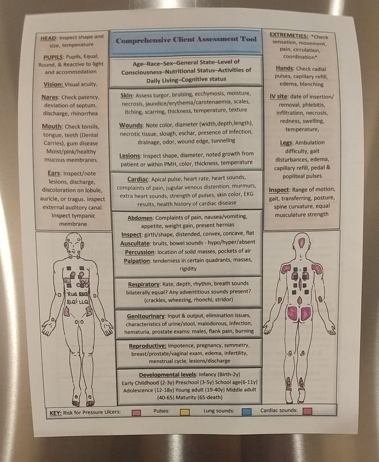 Double sided Comprehensive Nursing Assessment tool / Head to toe assessment cheat sheat created by Full Assessment Nurses. Available at https://www.etsy.com/shop/FullAssessmentNurses?ref=hdr_shop_menu