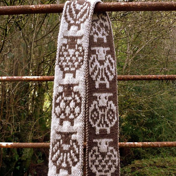 Long wool scarf hand knit featuring sheep sheep design