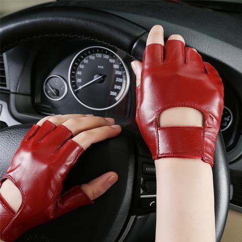 New Women Sheepskin Tactical Gloves Wrist Half Finger Mittens Fingerless Gloves …