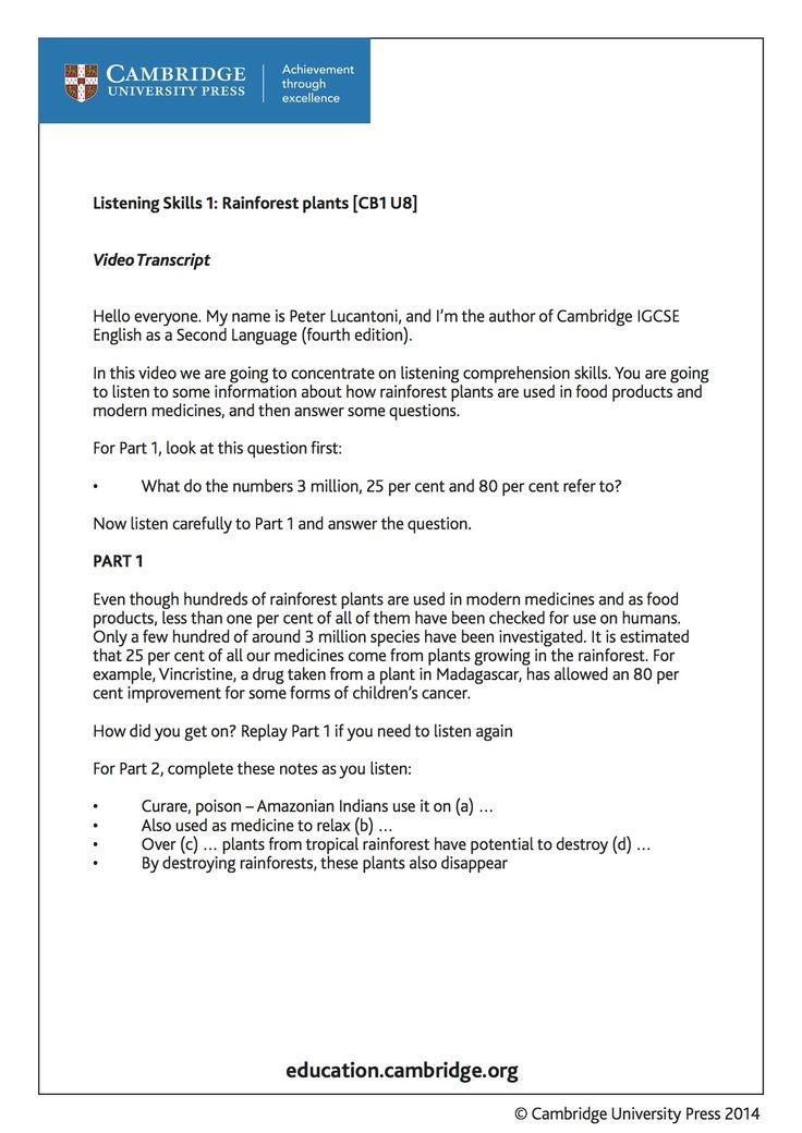 Transcript (page 1) for training video on Listening Skills - Rainforest Plants, for learners of English as a Second Language with Cambridge author Peter Lucantoni. Take a look at the video and try answering the questions. http://youtu.be/iczdlA99YsY?list=PL2HgNIO5uPKAr415r0Av5oTn4Nso2WqHd