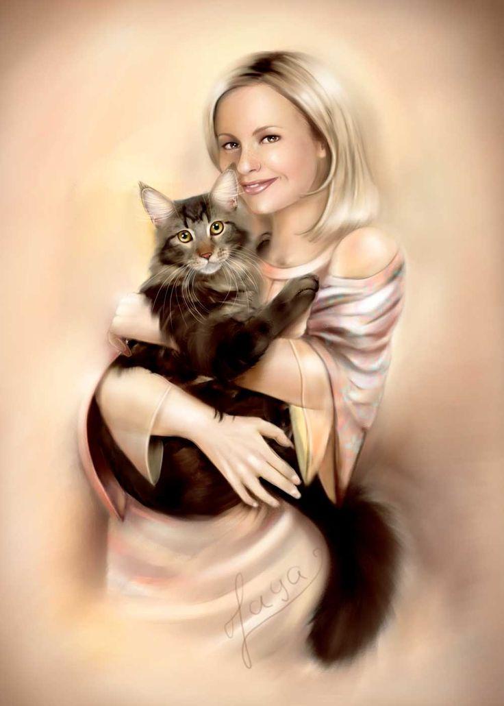 картинки девушка кошка