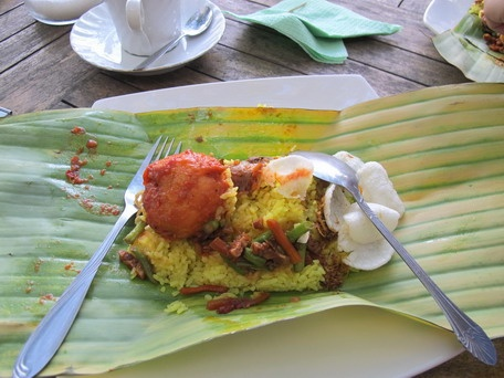 nasi kuning (turmeric rice cooked with coconut milk) ~ a typical Indonesian breakfast :)