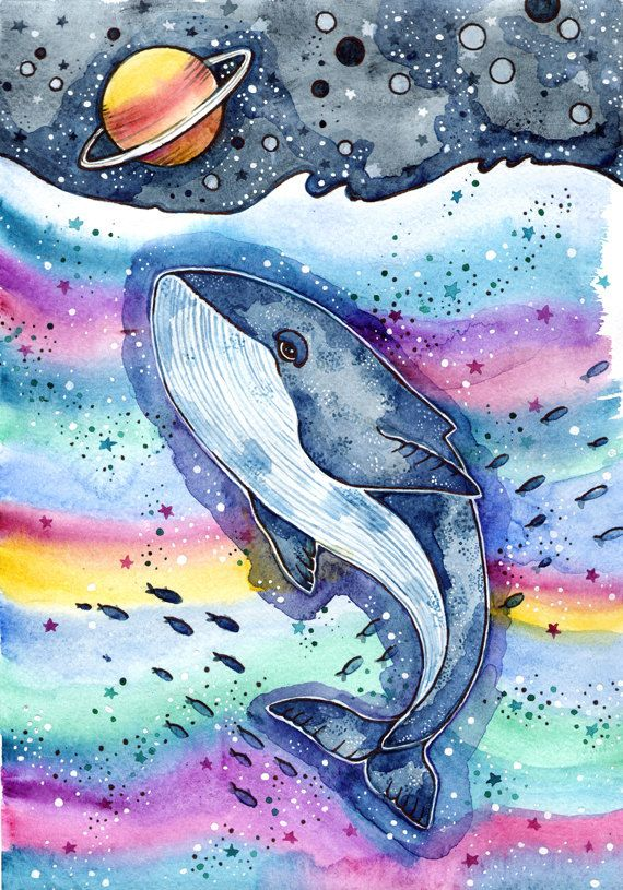Whale Art Print Whale Watercolor Painting Sea от LullabyForFox