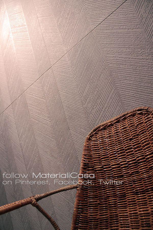 Gres porcellanato dalla superficie graffiata e di sapore quasi etnico da Kronos. #Cersaie2014 #CeramicTiles Company: Kronos (Italy)