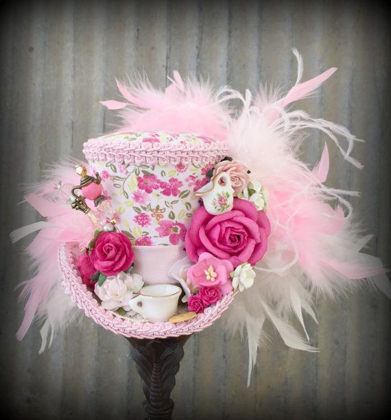 Mini Top Hat Pink Tea Cup hat Tea Pot Alice in by ChikiBird