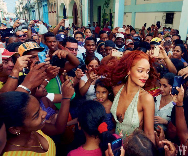 SCENE AND HEARDFans surround Rihanna in Old Havana. Photograph by Annie Leibovitz; Styled by Jessica Diehl.