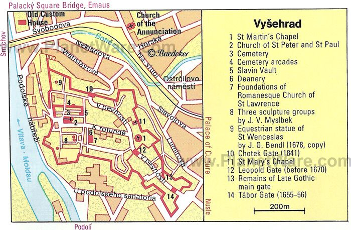 Map of Vysehrad