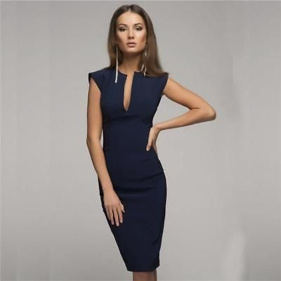 7a10f949a48 Summer Sexy Pencil Fashion Women Elegant Solid Sleeveless V-Neck Party  Dresses