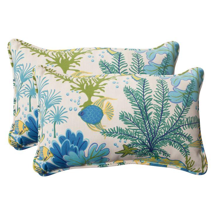 Outdoor 2-Piece Lumbar Toss Pillow Set - Green/Blue Ocean Scene