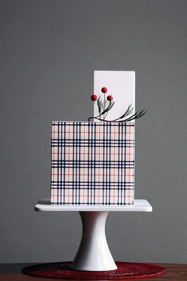 Modern plaid wedding cake created by Shannon Bond Cake Design