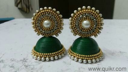 Quiling jhumkas with silk thread