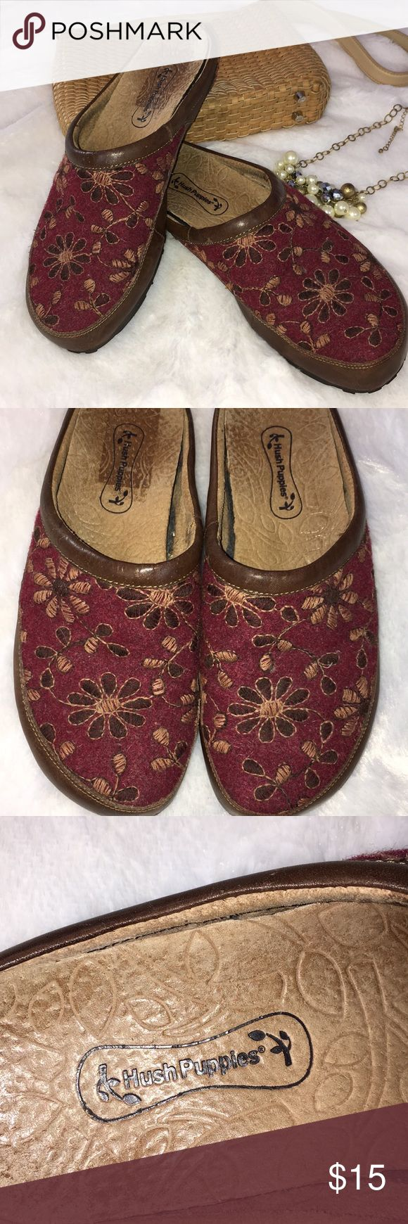 Hush puppies clogs Beautiful embroidery on these wool and leather clogs. No heel make theses a dream to wear. They run true to size but are a little wide. Hush Puppies Shoes Mules & Clogs