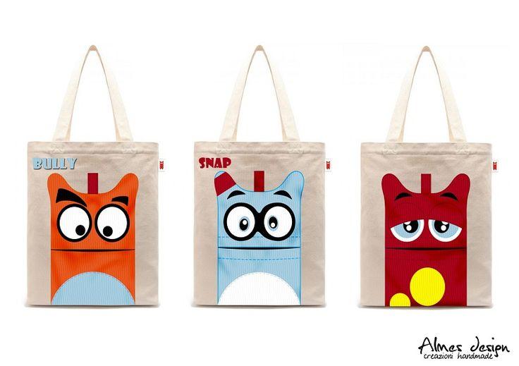 shopper bag- shopper with print - grafica mostri - almesdesign - handmade - cotton shopper