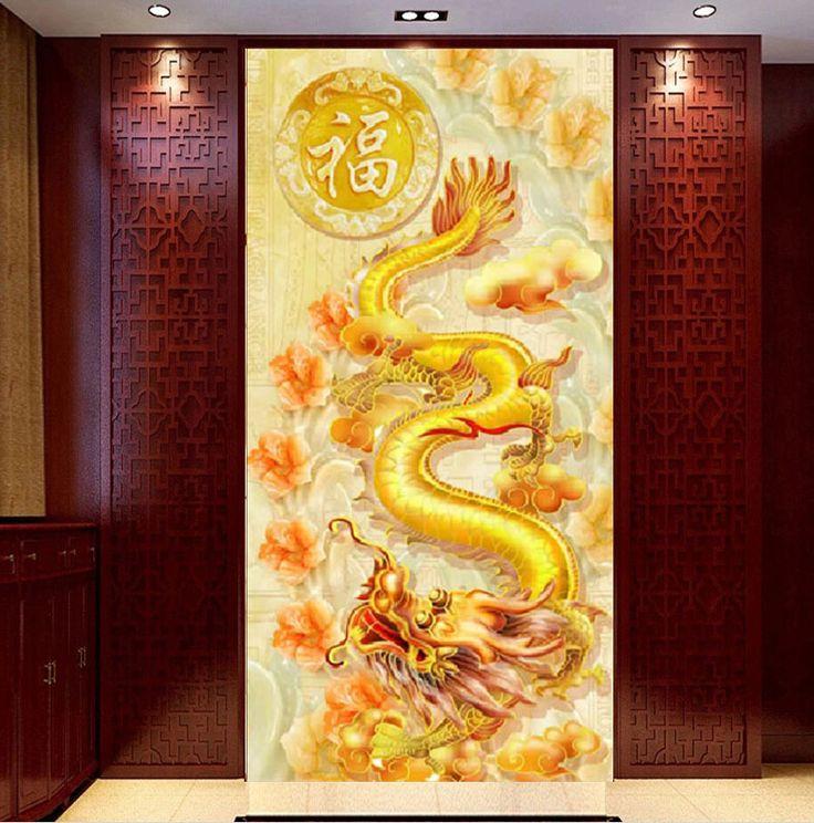 Golden Dragon and Peacocks DIY Diamond Painting Cross Stitch Mosaic Kits China Style Needlework Home Decor 5D Diamond Embroidery