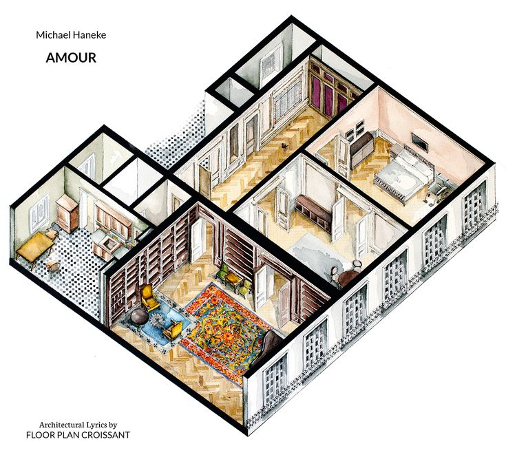 Watercolor Isometric Floor Plan Drawing Of Apartment In