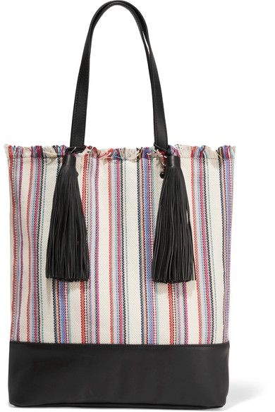 Loeffler Randall - Cruise Striped Canvas And Leather Tote - White - one size