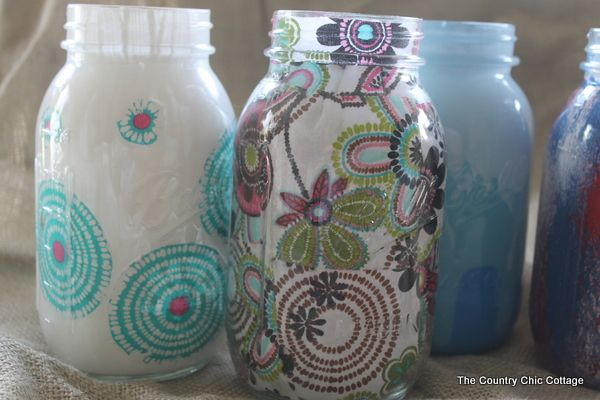 Decorating Jars Five Ways with @plaidcrafts #walmartplaid ~ * THE COUNTRY CHIC COTTAGE (DIY, Home Decor, Crafts, Farmhouse)