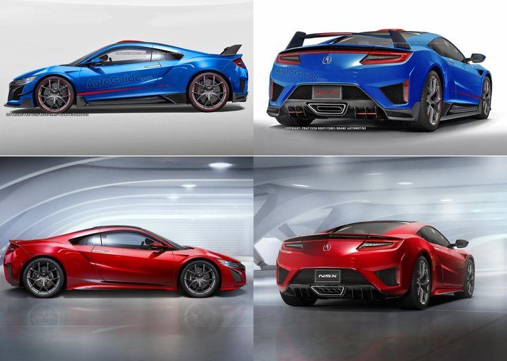 #Acura #NSX Type-R (Blue) rendered by Pratyush Rout/ Chris Doane Automotive on Autoguide next to original (Red).