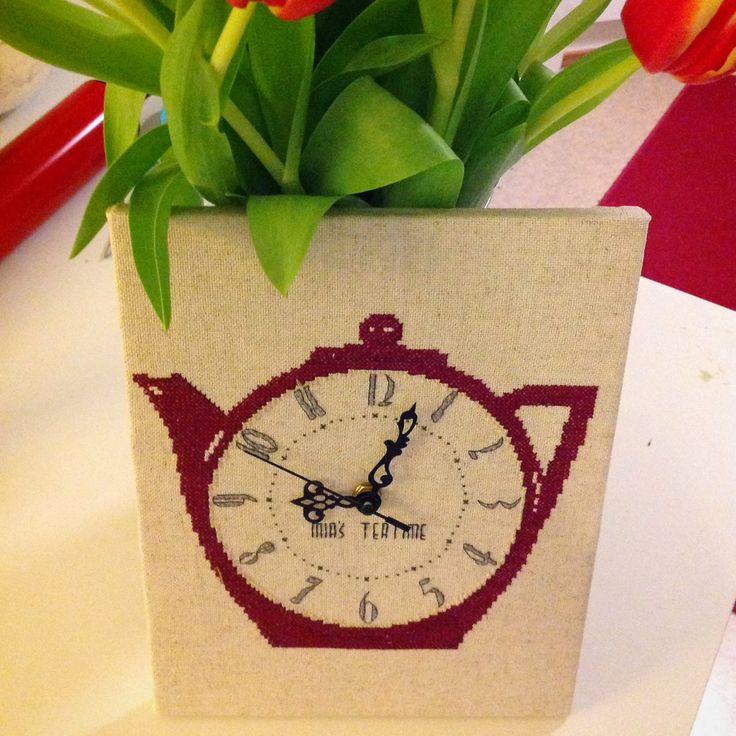 A needle and some thread: Cross stitched clock. Pattern from Cross Stitcher issue 289.