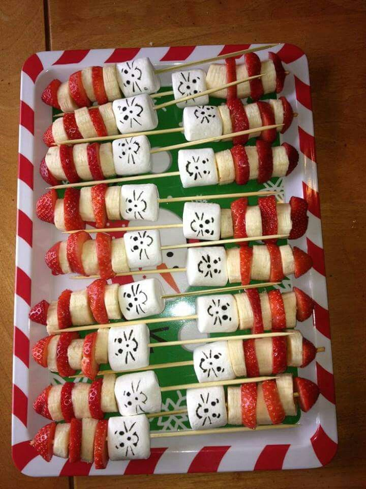 Edible Cat in the Hat fruit and marshmallow skewer.