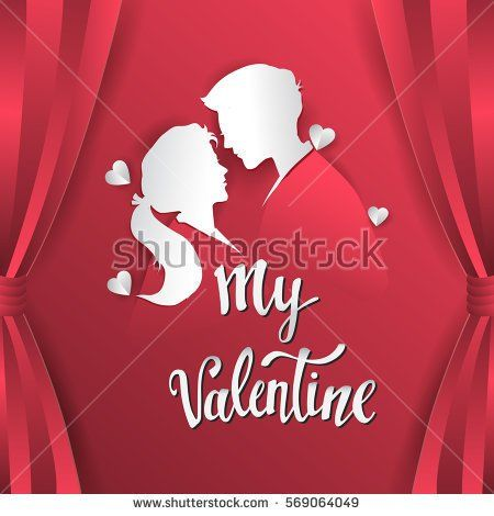 Happy valentines day vector greetings card lettering design with paper cut shape, couple mate in love and heart. isolated on red curtain background.
