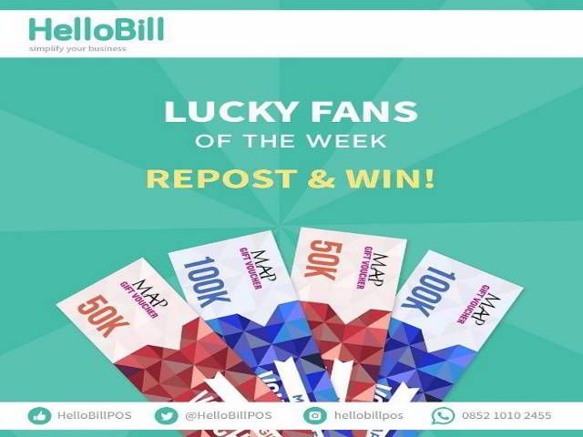 Kuis Lucky Fans Of The Week Berhadiah Voucher MAP Total 1juta - Hello Bill lagi bagi-bagi hadiah voucher belanja nih. Hanya dengan repost gambar, lalu