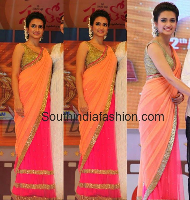 Krithi Karbandha in Half n Half Saree ~ Celebrity Sarees, Designer Sarees, Bridal Sarees, Latest Blouse Designs 2014