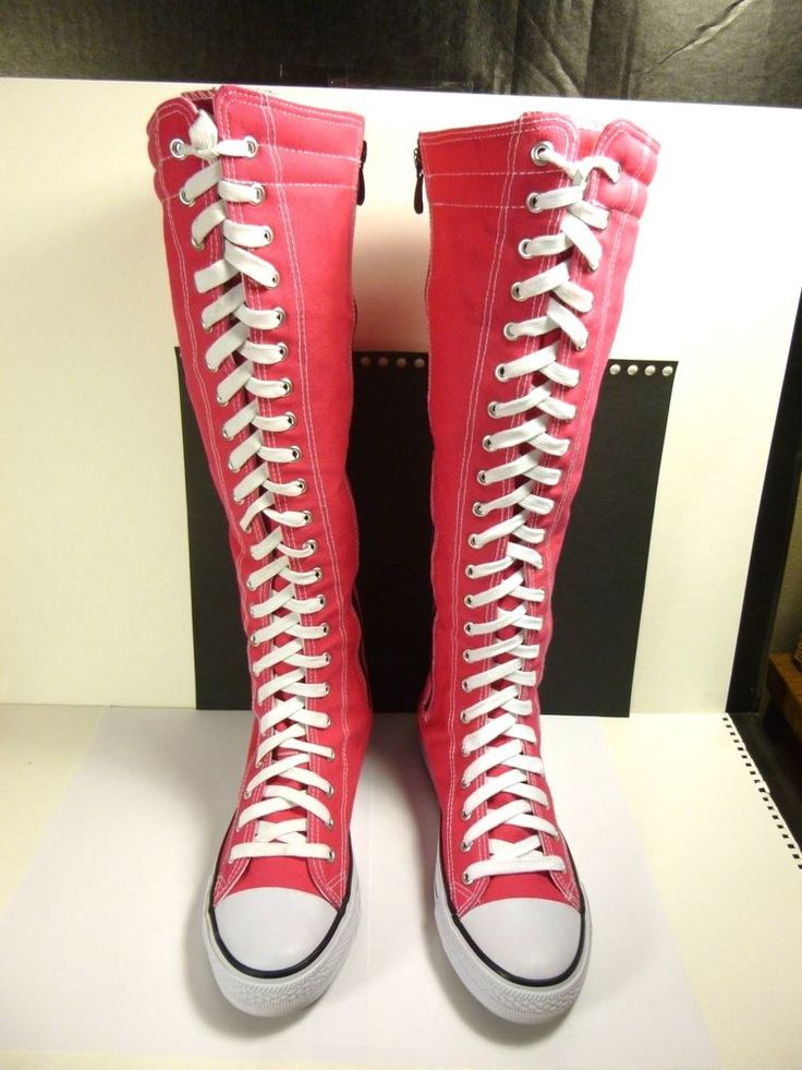 WOMEN CANVAS SNEAKER PINK FLAT TALL MID CALF LACE UP/ZIPPER KNEE HIGH BOOT SHOE #WESTBLVD #FashionMidCalf #Casual