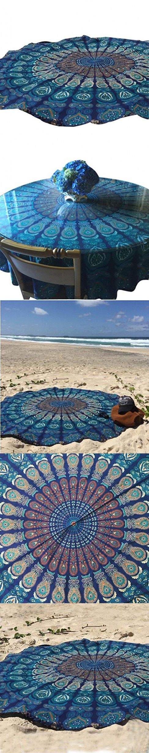 XUANOU Ethnic Style Round Beach Mat Peacock Feather Pattern Towel Tablecloth Yoga Mat