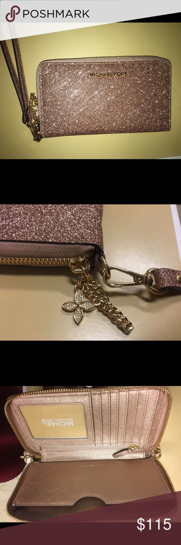 New MK wallet , not even out yet. Rose glittery gold, the gold charm adds cost to it KORS Michael Kors Bags Clutches Wristlets