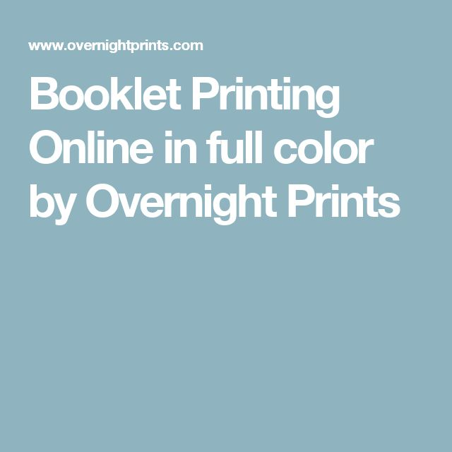 Booklet Printing Online in full color by Overnight Prints