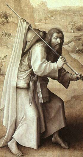 St. James the Greater as pilgrim, wearing girdle book. Hieronymus Bosch, after 1482. Left outer wing of The Triptych of the Last Judgment.