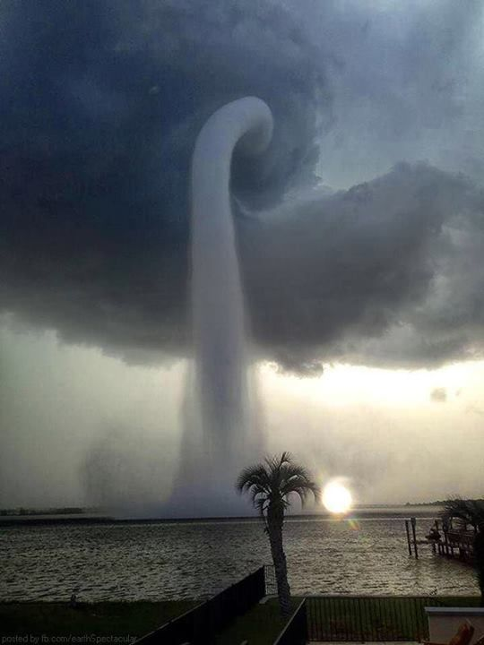 Spectacular and surreal waterspout amazed residents in Florida's Tampa Bay Area, Florida, Monday evening. The waterspout appeared as a large milky-white tube that snaked down from the clouds on the bay.