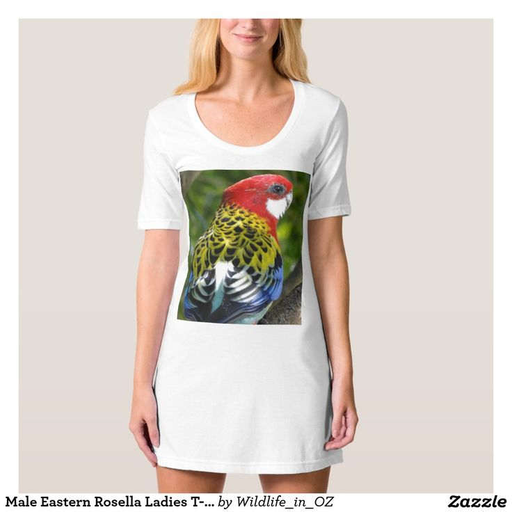 Male Eastern Rosella Ladies T-shirt Dress/Nightie - Prints based on photos of wildlife and places on the Gold Coast in Queensland, Australia. #tshirts #rosella #easternrosella #recovery #therapy #australianwildlife #wildlife #heartattackrecovery #zazzle