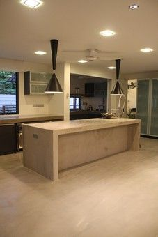 polished light concrete kitchen