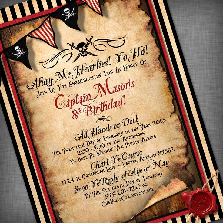 25 best ideas about Party invitation templates – Free Pirate Party Invitations