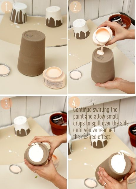 Paint dipped ceramic pots