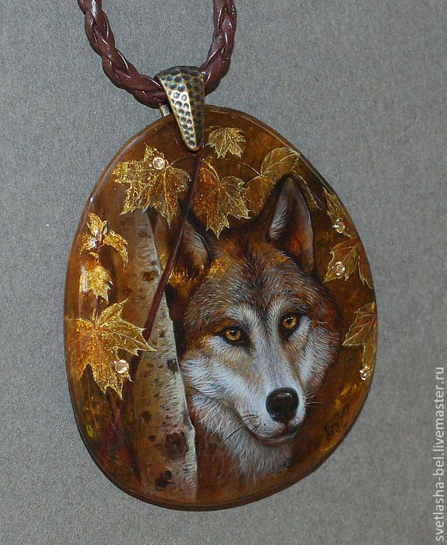 Купить У Волка Глаза Осенние... - коричневый, лаковая миниатюра, лаконичное украшение, авторская работа