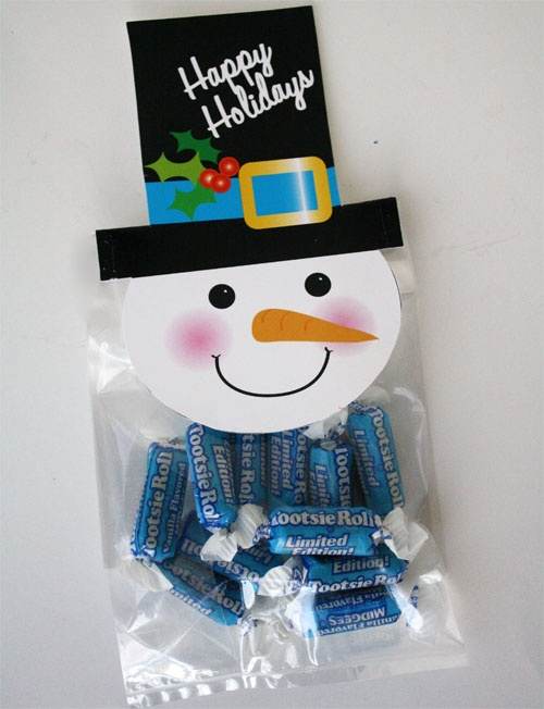 Free printable snowman bag topper!